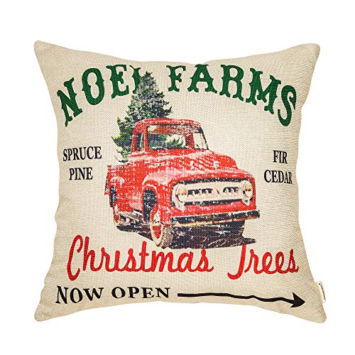 Fahrendom Rustic Farmhouse Style Noel Farms Christmas Trees Red Vintage Truck Winter Holiday Sign Cotton Linen Home Decorative Throw Pillow Case Cushion Cover With Words For Sofa Couch 18 X 18 In 0