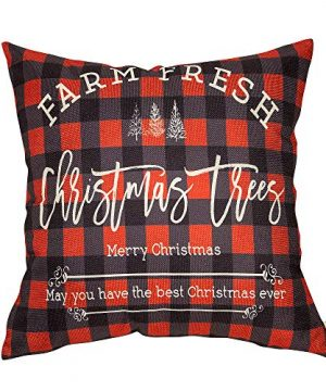 Fahrendom Winter Holiday Sign Farm Fresh Christmas Trees Farmhouse Gift Buffalo Checker Plaid Cotton Linen Home Decorative Throw Pillow Case Cushion Cover With Words For Sofa Couch 18 X 18 In 0 300x360