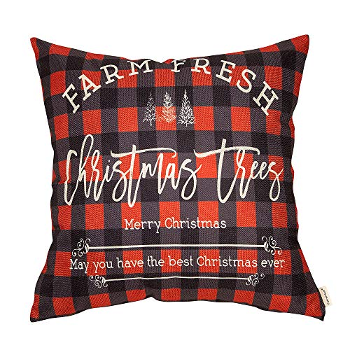 Fahrendom Winter Holiday Sign Farm Fresh Christmas Trees Farmhouse Gift Buffalo Checker Plaid Cotton Linen Home Decorative Throw Pillow Case Cushion Cover With Words For Sofa Couch 18 X 18 In 0