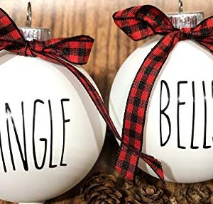 Farm House Ornament Set 6 Shatterproof Matte White Bulbs With Black Lettering And Buffalo Plaid Bows 0 0 300x288