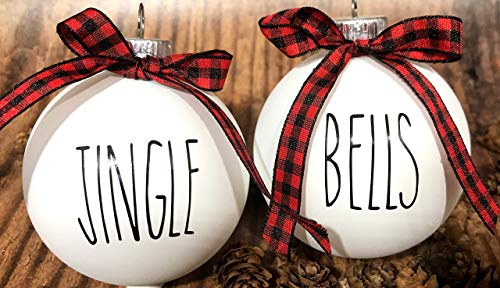 Farm House Ornament Set 6 Shatterproof Matte White Bulbs With Black Lettering And Buffalo Plaid Bows 0 0