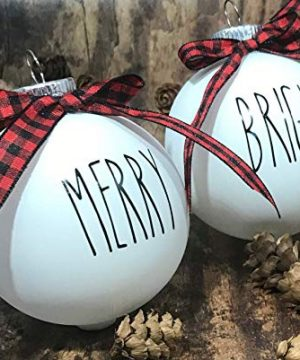 Farm House Ornament Set 6 Shatterproof Matte White Bulbs With Black Lettering And Buffalo Plaid Bows 0 1 300x360