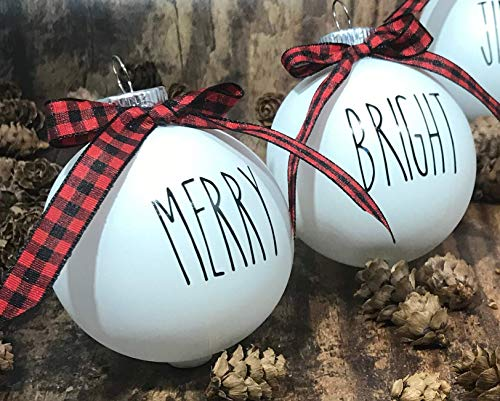 Farm House Ornament Set 6 Shatterproof Matte White Bulbs With Black Lettering And Buffalo Plaid Bows 0 1