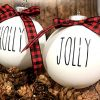 Farm House Ornament Set 6 Shatterproof Matte White Bulbs With Black Lettering And Buffalo Plaid Bows 0 100x100