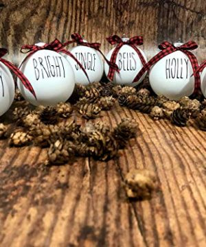 Farm House Ornament Set 6 Shatterproof Matte White Bulbs With Black Lettering And Buffalo Plaid Bows 0 2 300x360