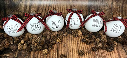Farm House Ornament Set 6 Shatterproof Matte White Bulbs With Black Lettering And Buffalo Plaid Bows 0 3