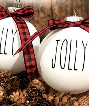 Farm House Ornament Set 6 Shatterproof Matte White Bulbs With Black Lettering And Buffalo Plaid Bows 0 300x360