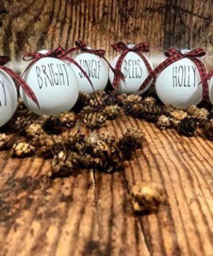Farm House Ornament Set 6 Shatterproof Matte White Bulbs With Black Lettering And Buffalo Plaid Bows 0 4 300x360