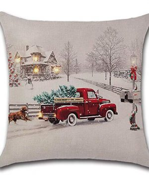Farmhouse Christmas Tree In Red Car Pillow Cover Cute Dog Pillow Cushion Case Throw Pillow Case Cushion Cover 18 X 18 45cm X 45cm 0 300x360
