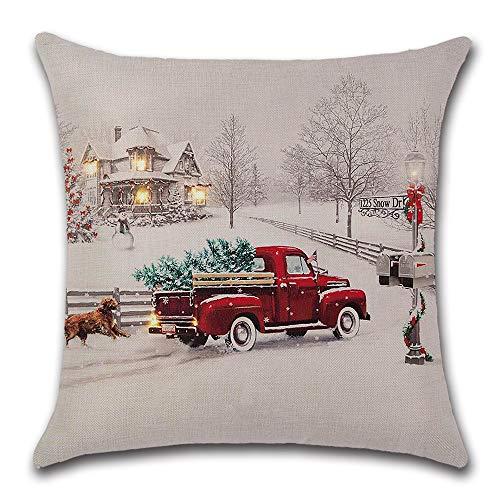 Farmhouse Christmas Tree In Red Car Pillow Cover Cute Dog Pillow Cushion Case Throw Pillow Case Cushion Cover 18 X 18 45cm X 45cm 0