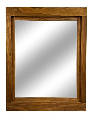 Farmhouse Large Framed Mirror Available In 5 Sizes And 20 Stain Colors Shown In Driftwood Large Wall Mirror Vainty Mirror Bathroom Mirror Rustic Decor Bathroom Vanity Mirror 0 1
