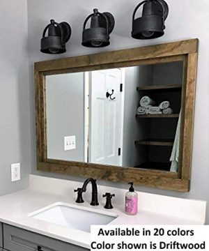 Farmhouse Large Framed Mirror Available In 5 Sizes And 20 Stain Colors Shown In Driftwood Large Wall Mirror Vainty Mirror Bathroom Mirror Rustic Decor Bathroom Vanity Mirror 0 300x360