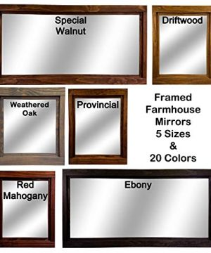 Farmhouse Large Framed Mirror Available In 5 Sizes And 20 Stain Colors Shown In Driftwood Large Wall Mirror Vainty Mirror Bathroom Mirror Rustic Decor Bathroom Vanity Mirror 0 4 300x360