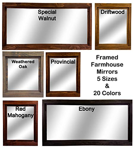 Farmhouse Large Framed Mirror Available In 5 Sizes And 20 Stain Colors Shown In Driftwood Large Wall Mirror Vainty Mirror Bathroom Mirror Rustic Decor Bathroom Vanity Mirror 0 4