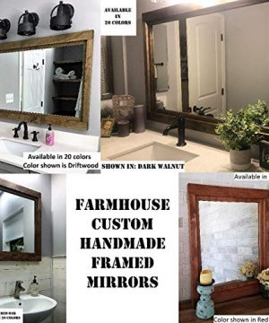 Farmhouse Large Framed Mirror Available In 5 Sizes And 20 Stain Colors Shown In Driftwood Large Wall Mirror Vainty Mirror Bathroom Mirror Rustic Decor Bathroom Vanity Mirror 0 6 300x360