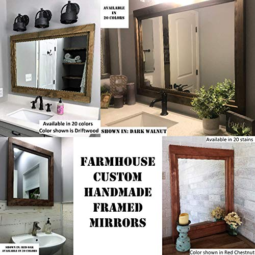 Farmhouse Large Framed Mirror Available In 5 Sizes And 20 Stain Colors Shown In Driftwood Large Wall Mirror Vainty Mirror Bathroom Mirror Rustic Decor Bathroom Vanity Mirror 0 6