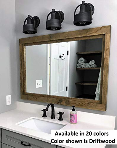 Farmhouse Large Framed Mirror Available In 5 Sizes And 20 Stain Colors Shown In Driftwood Large Wall Mirror Vainty Mirror Bathroom Mirror Rustic Decor Bathroom Vanity Mirror 0