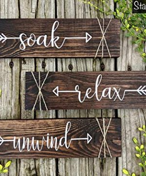 Farmhouse Rustic Bathroom Decor Soak Relax Unwind Signs Set Of Three Wooden Wall Hangings 0 300x360