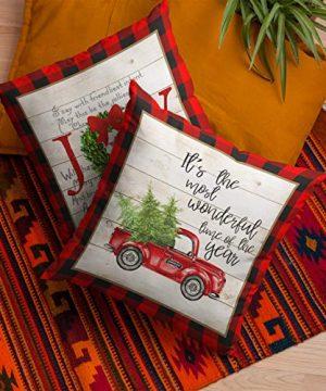 Faromily Buffalo Plaid Christmas Pillow Covers Farmhouse Decorative Cotton Linen Throw Pillow Cases 18 X 18 Inch Set Of 4 Christmas Decoration 0 0 300x360