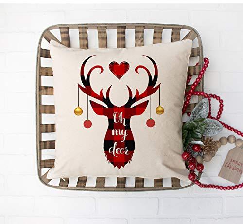 Faromily Christmas Decorations Pillow Covers Christmas Buffalo Plaid Farmhouse Decor Set Of 4 Throw Pillow Cases Retro Truck Cushion Cover 18 X 18 Inch Xmas Decoration 0 2