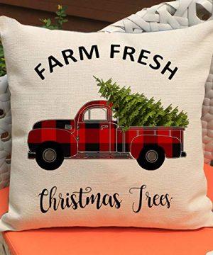 Faromily Christmas Decorations Pillow Covers Christmas Buffalo Plaid Farmhouse Decor Set Of 4 Throw Pillow Cases Retro Truck Cushion Cover 18 X 18 Inch Xmas Decoration 0 3 300x360