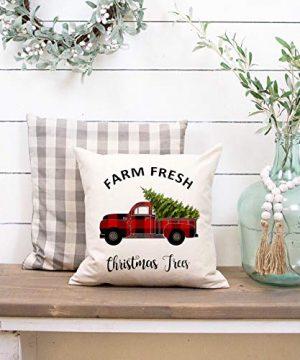 Faromily Christmas Decorations Pillow Covers Christmas Buffalo Plaid Farmhouse Decor Set Of 4 Throw Pillow Cases Retro Truck Cushion Cover 18 X 18 Inch Xmas Decoration 0 5 300x360