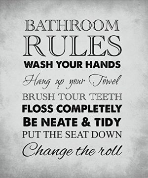 Fastasticdeals Bathroom Rules Style H Funny Home Novelty Metal Sign Wall Decor Light Grey Background 0 300x360