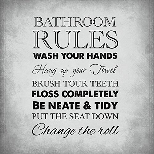 Fastasticdeals Bathroom Rules Style H Funny Home Novelty Metal Sign Wall Decor Light Grey Background 0
