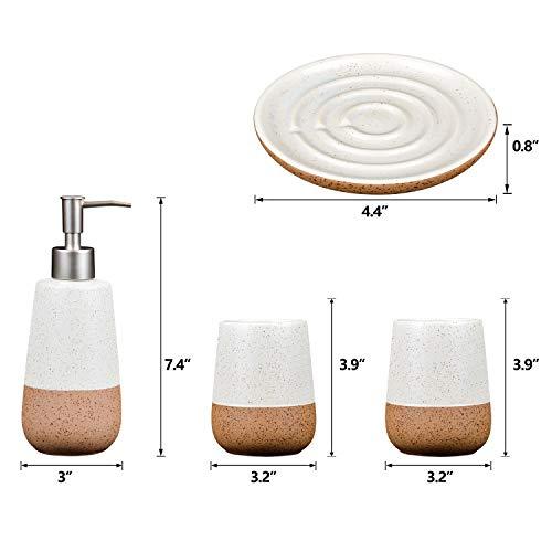 Fimary Ceramic Bathroom Accessories Set White Including 4 Piece Bathroom Accessories Set Soap DispenserToothbrush HolderTumblerSoap Dish Elegant Bathroom Set Collection 0 0