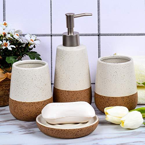 Fimary Ceramic Bathroom Accessories Set White Including 4 Piece Bathroom Accessories Set Soap DispenserToothbrush HolderTumblerSoap Dish Elegant Bathroom Set Collection 0 4