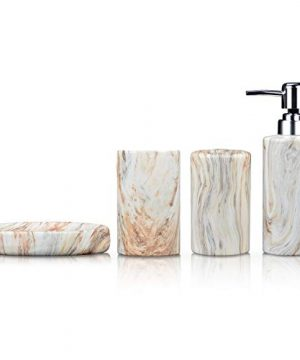 Fimary Ceramic Marble Bathroom Accessories Set Including 4 Piece White Marble Bathroom Accessories Set Soap Dispenser Toothbrush Holder Tumbler Soap Dish The Best Gift Choice 0 300x360