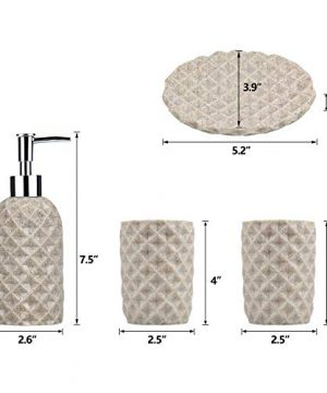 Fimary Resin Bathroom Accessories Set Complete Resin Elegant Bathroom Set Including Soap Dish Lotion Dispenser Tumbler Toothbrush Holder Bath Set Collection 0 0 300x360