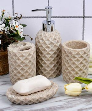 Fimary Resin Bathroom Accessories Set Complete Resin Elegant Bathroom Set Including Soap Dish Lotion Dispenser Tumbler Toothbrush Holder Bath Set Collection 0 2 300x360