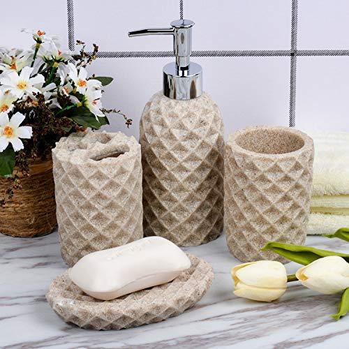 Fimary Resin Bathroom Accessories Set Complete Resin Elegant Bathroom Set Including Soap Dish Lotion Dispenser Tumbler Toothbrush Holder Bath Set Collection 0 2