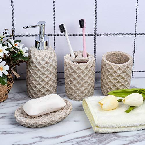 Fimary Resin Bathroom Accessories Set Complete Resin Elegant Bathroom Set Including Soap Dish Lotion Dispenser Tumbler Toothbrush Holder Bath Set Collection 0 5