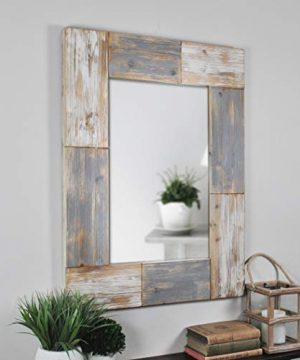 FirsTime Co 70001 Mason Planks Wall Mirror 315 H X 24 W Aged White Gray Wood 0 300x360