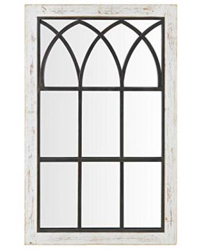 FirsTime Co 70024 Vista Arched Window Accent Wall Mirror 375 X 24 Distressed White 0 0 300x360