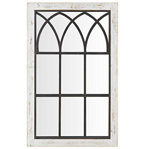 FirsTime Co 70024 Vista Arched Window Accent Wall Mirror 375 X 24 Distressed White 0 0
