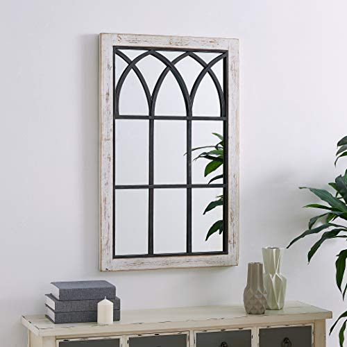 FirsTime Co 70024 Vista Arched Window Accent Wall Mirror 375 X 24 Distressed White 0