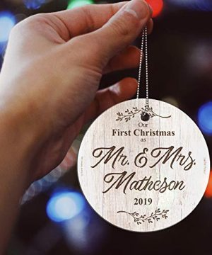 First Christmas Married Glass Ornament Mr And Mrs Personalized Rustic Farmhouse Wood Design Suncatcher Hanging Print Christmas Tree Date Display 35 Circle Free Red Velveteen Gift Bag 0 2 300x360