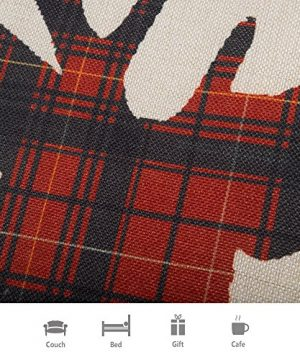 Fjfz Farmhouse Decor Holiday Decoration Cotton Linen Home Decorative Throw Pillow Case Cushion Cover For Sofa Couch Christmas Winter Deer Scottish Buffalo Plaid Red 18 X 18 0 1 300x360