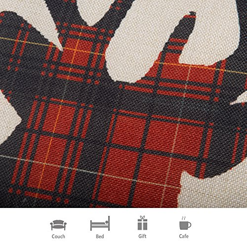 Fjfz Farmhouse Decor Holiday Decoration Cotton Linen Home Decorative Throw Pillow Case Cushion Cover For Sofa Couch Christmas Winter Deer Scottish Buffalo Plaid Red 18 X 18 0 1