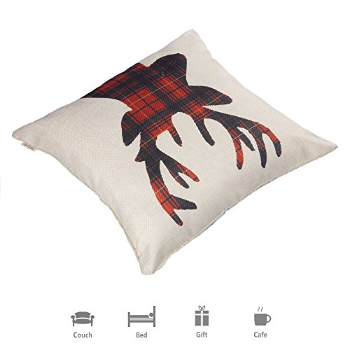 Fjfz Farmhouse Decor Holiday Decoration Cotton Linen Home Decorative Throw Pillow Case Cushion Cover For Sofa Couch Christmas Winter Deer Scottish Buffalo Plaid Red 18 X 18 0 3
