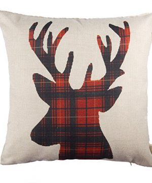 Fjfz Farmhouse Decor Holiday Decoration Cotton Linen Home Decorative Throw Pillow Case Cushion Cover For Sofa Couch Christmas Winter Deer Scottish Buffalo Plaid Red 18 X 18 0 300x360