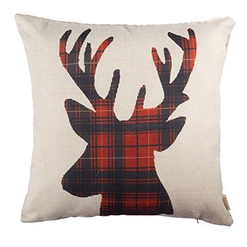 Fjfz Farmhouse Decor Holiday Decoration Cotton Linen Home Decorative Throw Pillow Case Cushion Cover For Sofa Couch Christmas Winter Deer Scottish Buffalo Plaid Red 18 X 18 0