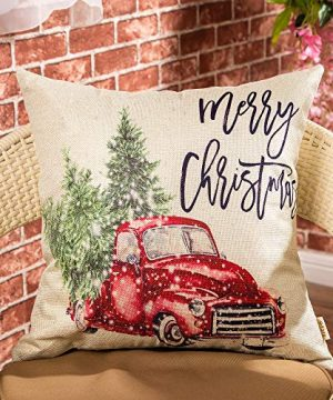 Fjfz Merry Christmas Decor Retro Red Truck With Trees Snowflakes Winter Holiday Sign Farmhouse Decoration Gift Cotton Linen Home Decorative Throw Pillow Case Cushion Cover For Sofa Couch 18 X 18 0 0 300x360