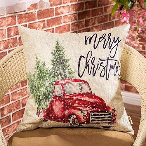 Fjfz Merry Christmas Decor Retro Red Truck With Trees Snowflakes Winter Holiday Sign Farmhouse Decoration Gift Cotton Linen Home Decorative Throw Pillow Case Cushion Cover For Sofa Couch 18 X 18 0 0