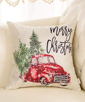 Fjfz Merry Christmas Decor Retro Red Truck With Trees Snowflakes Winter Holiday Sign Farmhouse Decoration Gift Cotton Linen Home Decorative Throw Pillow Case Cushion Cover For Sofa Couch 18 X 18 0 1 300x360