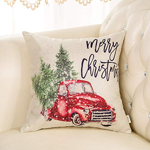 Fjfz Merry Christmas Decor Retro Red Truck With Trees Snowflakes Winter Holiday Sign Farmhouse Decoration Gift Cotton Linen Home Decorative Throw Pillow Case Cushion Cover For Sofa Couch 18 X 18 0 1