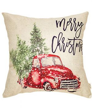 Fjfz Merry Christmas Decor Retro Red Truck With Trees Snowflakes Winter Holiday Sign Farmhouse Decoration Gift Cotton Linen Home Decorative Throw Pillow Case Cushion Cover For Sofa Couch 18 X 18 0 300x360